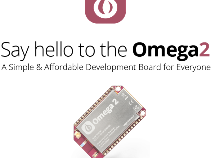 Picture of the Onion Omega 2 system on chip, with the caption Say Hello to the Omega 2