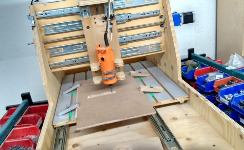 NESIT's drawer slider driven CNC running off a Harbor Freight trim router