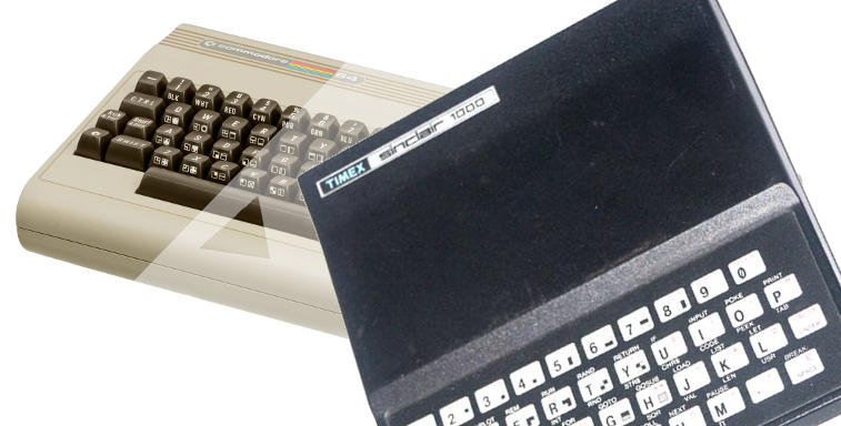 Timex Sinclair 1000 superimposed on a Commodore C64