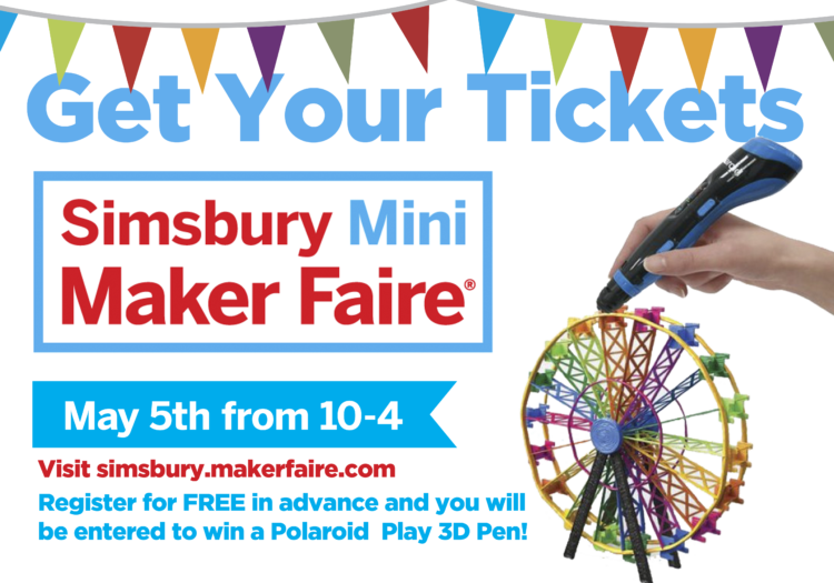 Mini Maker Faire Simsbury advertisement featuring a 3D printer pen creating a ferris wheel.