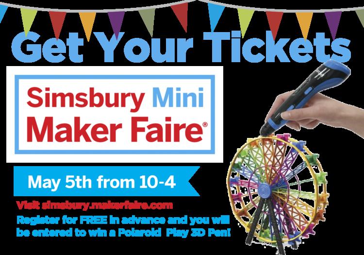 Mini Maker Faire Simsbury advertisement featuring a 3D printer pen creating a ferris wheel.